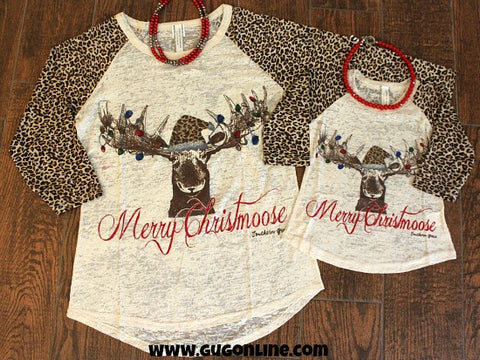 Kids Merry Christmoose Baseball Tee with Leopard Sleeves