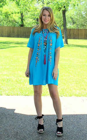 Find Your Escape Floral Embroidered Dress in Turquoise