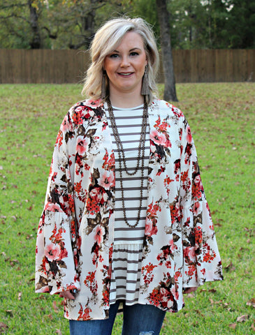 Another Level Floral Kimono in Ivory