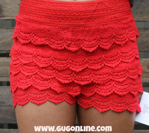 Crochet Cutie Shorts in Red