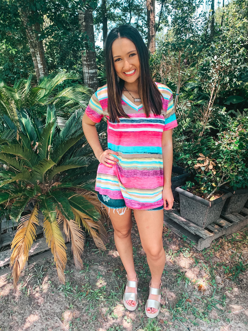 Keep Things Simple Striped V Neck Tee in Fuchsia Multi