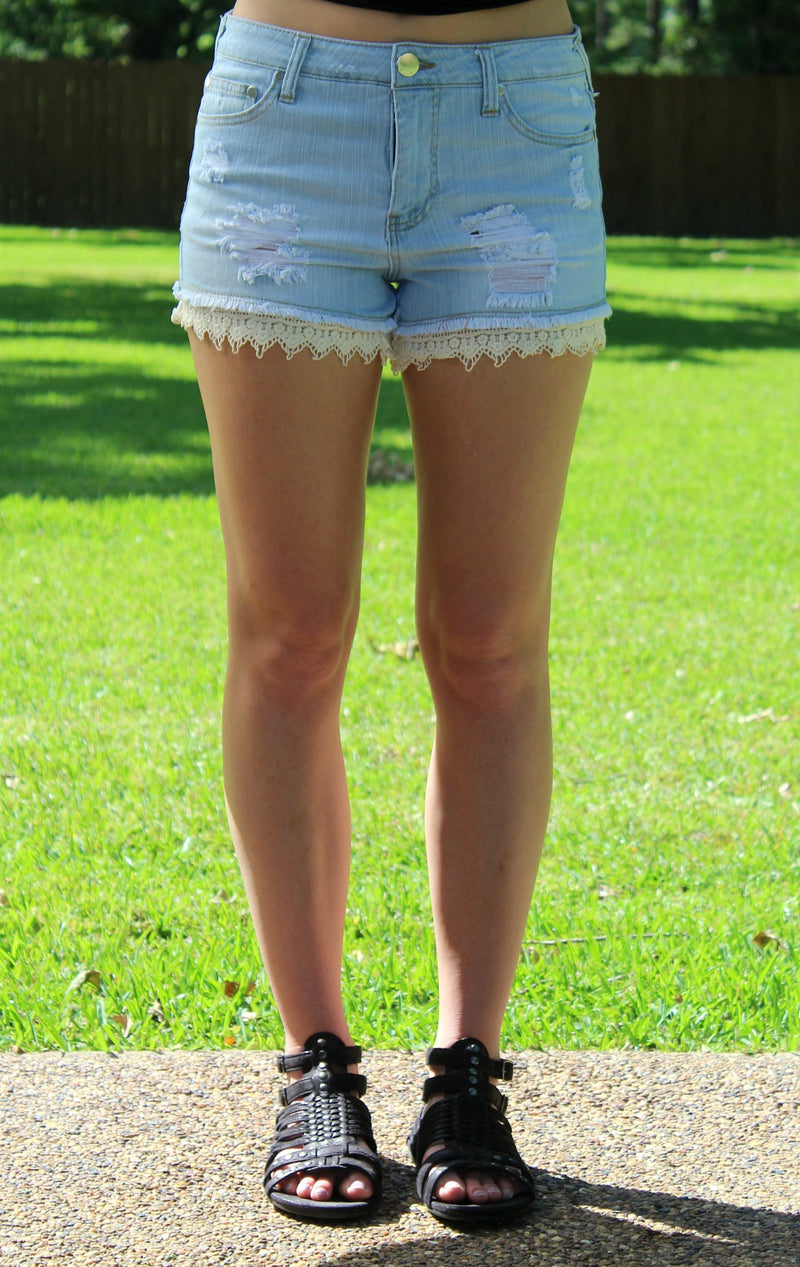 What's The Hurry Denim Shorts with Crochet Lace Detailing