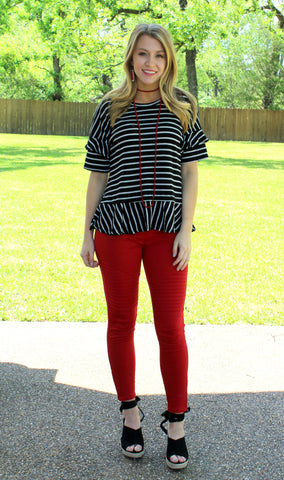 Downright Darling Moto Jeggings in Red