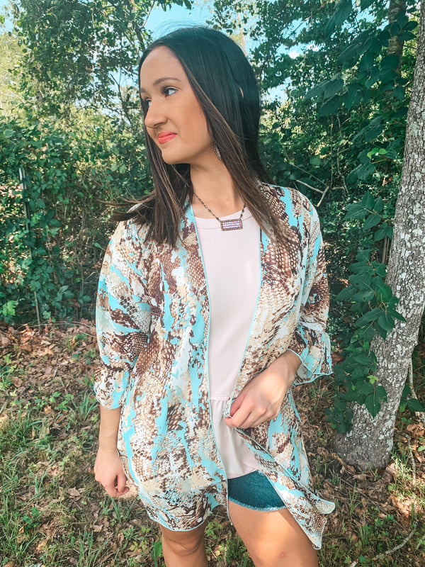 Tell Me About It Sheer Snakeskin Kimono with Ruffle Sleeves in Turquoise