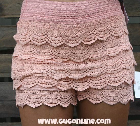 Crochet Cutie Shorts in Light Coral