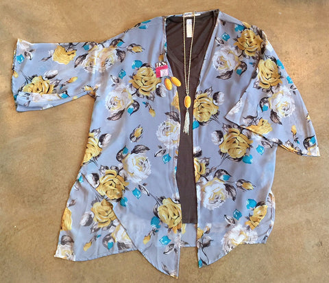 The Yellow Rose Grey Sheer Floral Kimono