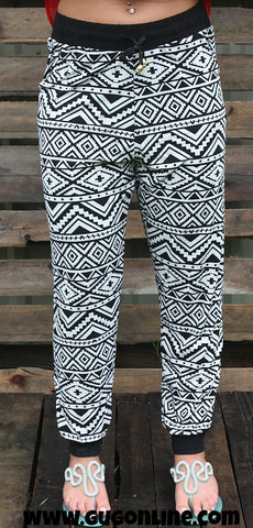Can't Touch This Black and White Aztec Jogger Pants