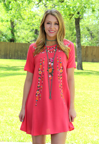 Find Your Escape Floral Embroidered Dress in Coral