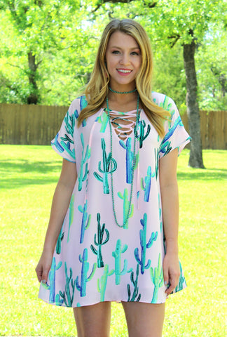 On the Upgrade Neon Cactus Lace Up Dress in Light Pink