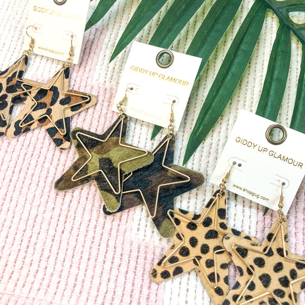 Star Shaped Earrings with Gold Wire Overlay in Cheetah