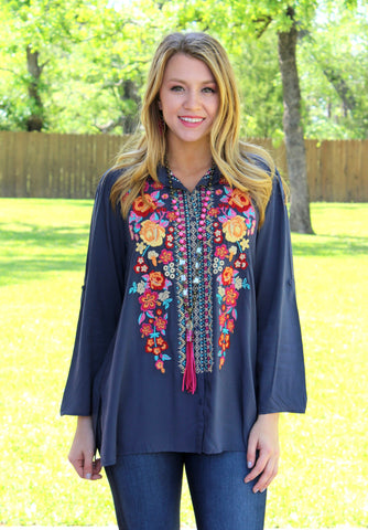 Everything and More Floral Embroidered Button Up Top in Dark Grey