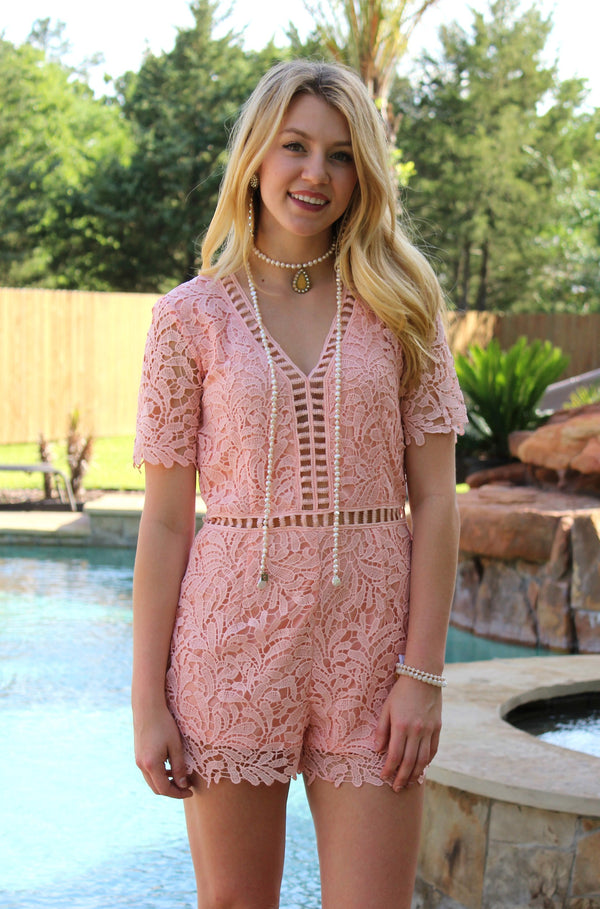 Adore Me Lace Crochet Romper in Peach