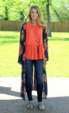 Make Your Heart Race Floral Kimono in Navy Blue
