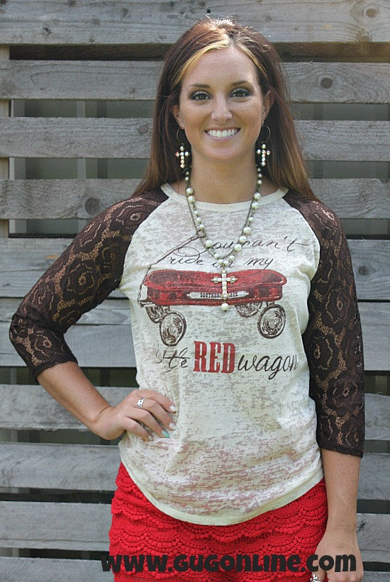 9db4450f80749 My Little Red Wagon Baseball Burnout Tee with Brown Lace Sleeves – Giddy Up  Glamour Boutique