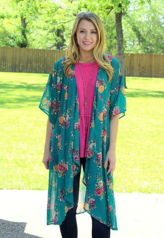 Happiest With You Floral Kimono in Jade