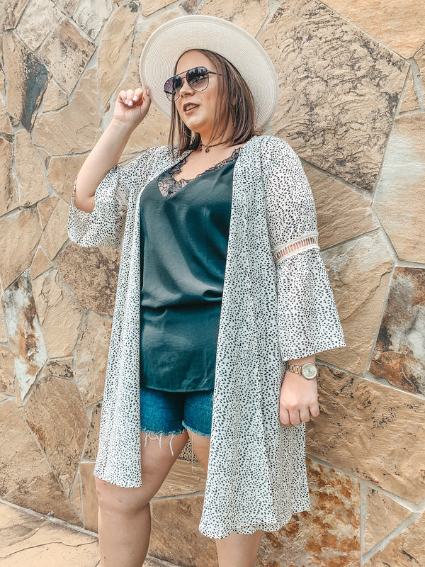 What The Heart Wants Bell Sleeve Kimono in Dalmatian Print