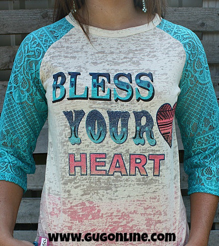 Bless Your Heart Burnout Baseball Tee with Turquoise Lace Sleeves