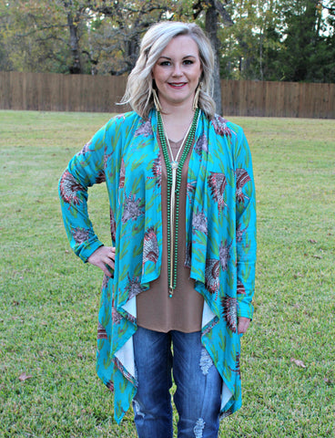 Big Impact Turquoise Cactus and Indian Headdress Cardigan