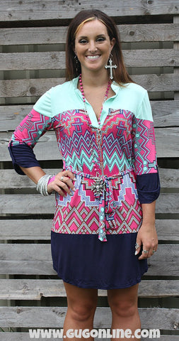 Never Let Me Down Mint, Pink and Navy Tunic