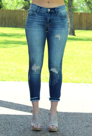 Better Than The Rest Distressed Skinny Jeans in Dark Wash