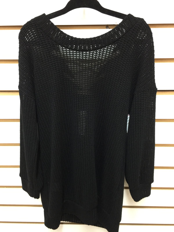 Kids Black Lace Up Back Sweater