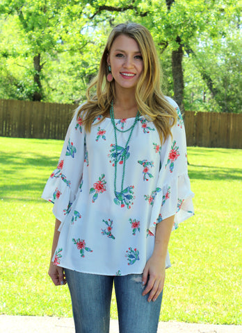 Lost in Las Cruces Bell Sleeve Cactus Top in White