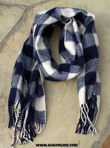 Navy Blue and Ivory Plaid Scarf