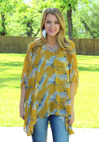 Sure Thing Sheer Floral Oversized Poncho Top in Mustard Yellow
