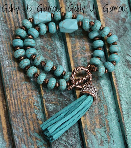 Double Strand Turquoise and Bronze Bracelet with Tassel