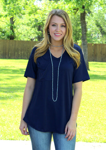 Just Right Short Sleeve Pocket Tee in Navy Blue