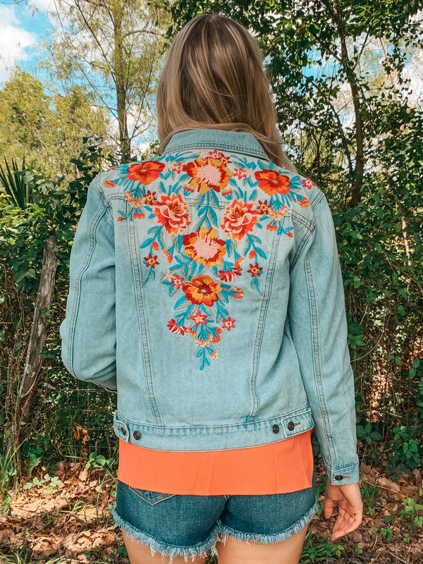 Small Town Summer Floral Embroidered Denim Jacket in Light Wash