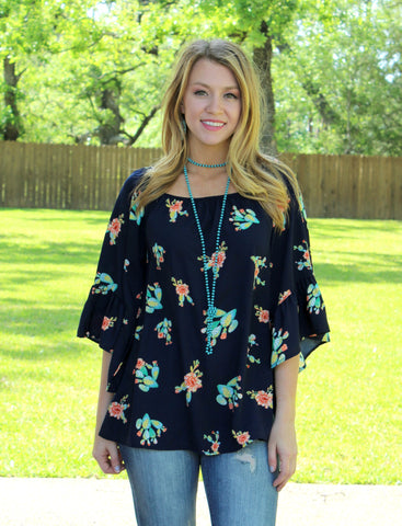 Lost in Las Cruces Bell Sleeve Cactus Top in Navy Blue