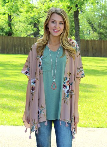 Heaven Sent Floral Print Kimono with Tassels in Beige