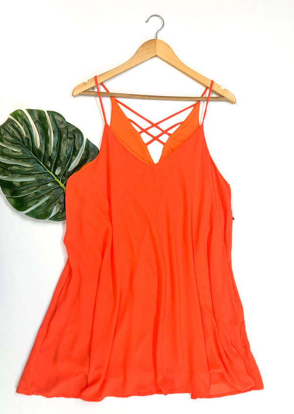 Sheer Sun Dress with Criss Cross Back in Orange