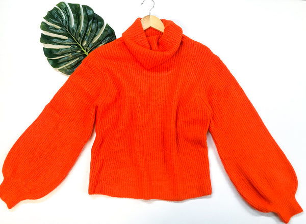Take It As It Comes Neon Over Sized Knit Turtleneck Pullover Sweater in Orange