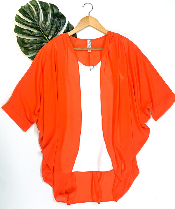 Not The Same Solid Kimono in Orange