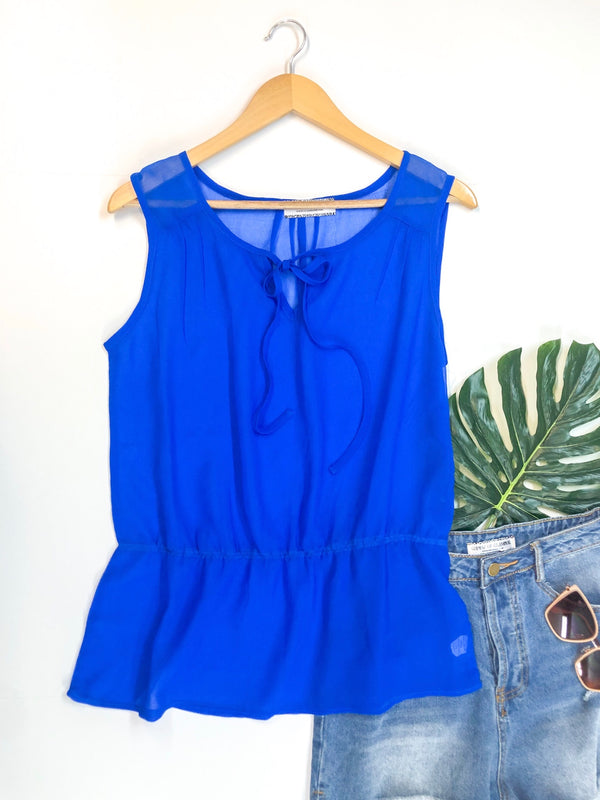 Sheer Peplum Tank Top with Keyhole Tie in Royal Blue