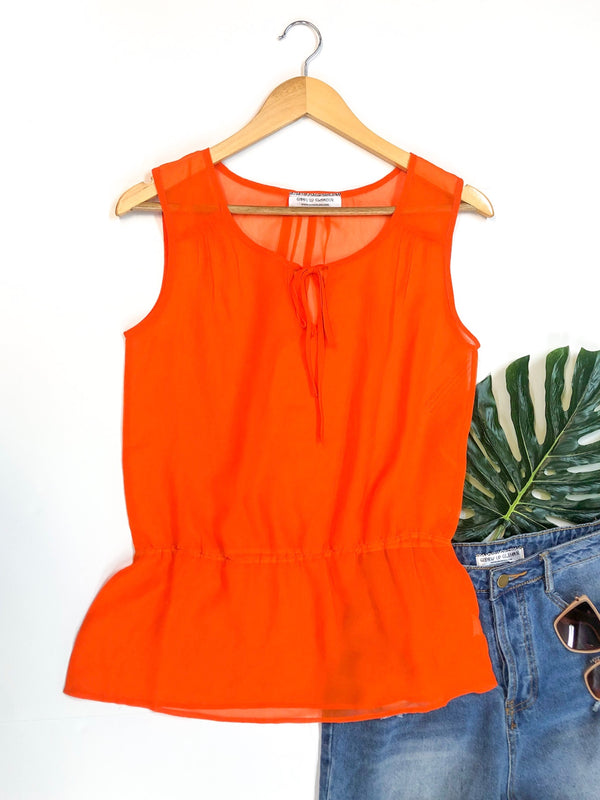 Sheer Peplum Tank Top with Keyhole Tie in Orange