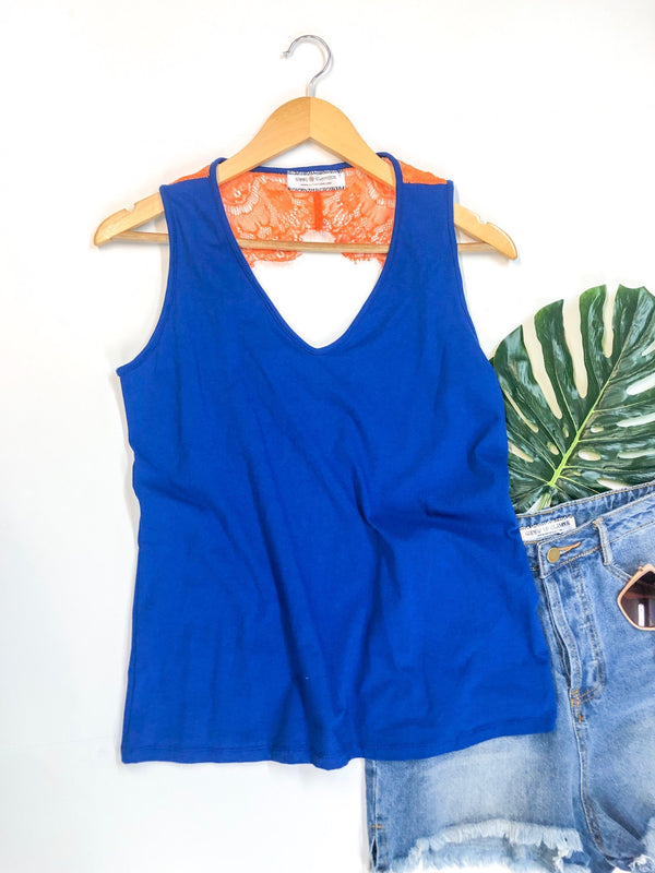 Open Back Tank Top with Orange Lace Detailing in Royal Blue