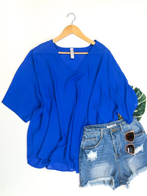 Sure Thing Sheer Oversized Poncho Top in Royal Blue