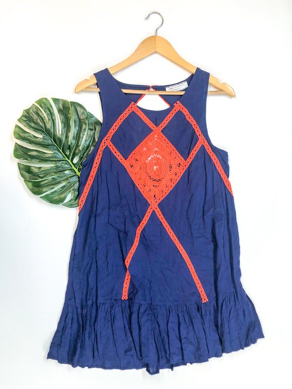 Ruffle Hem Tank Top Dress with Orange Crochet Detailing in Navy