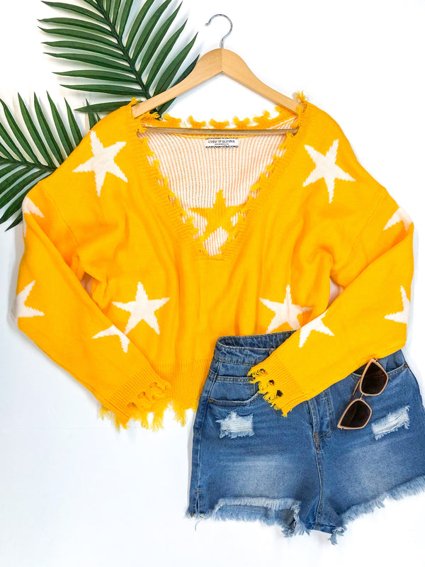 Super Star Power Crop Star Print Sweater with Frayed Edges in Yellow