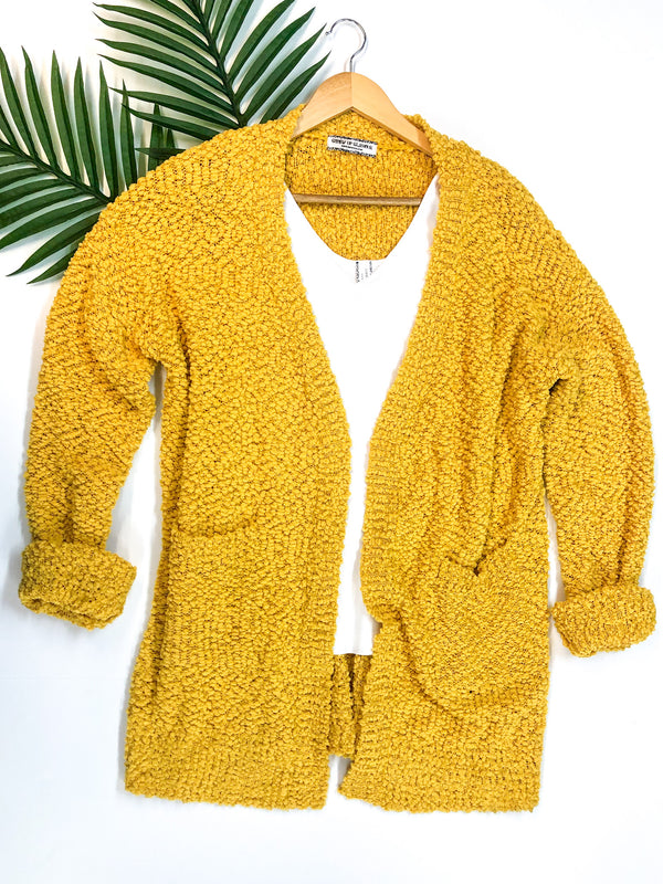 Feel At Home Soft Popcorn Cardigan in Yellow