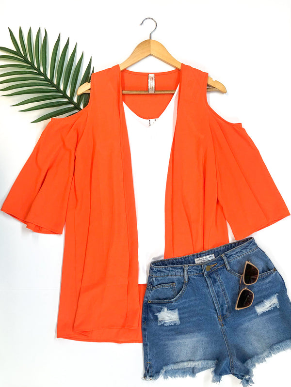Cold Shoulder Kimono in Orange