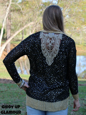 Add Some Sparkle Sequin Sweater in Black