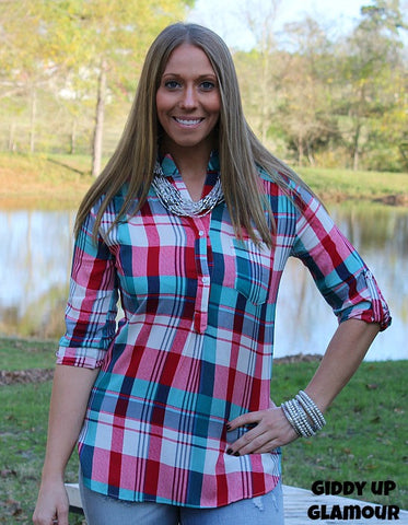 Paint the Town Red and Turquoise Plaid Blouse