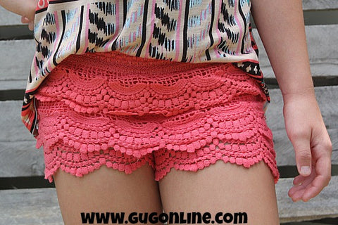 Crochet Cutie Children's Crochet Shorts in Coral