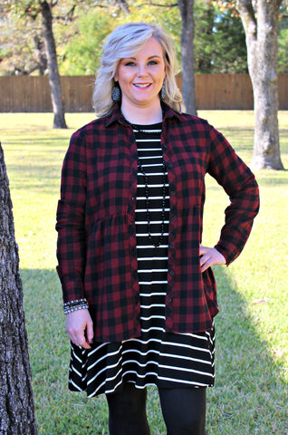 Seasonal Favorite Long Sleeve Peplum Plaid Shirt in Maroon
