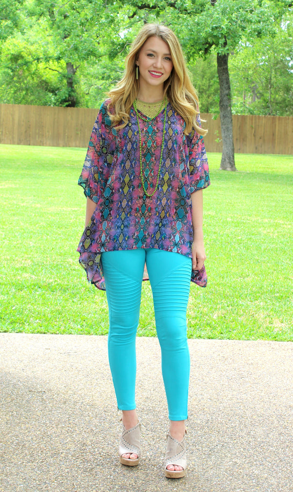 Downright Darling Moto Jeggings in Turquoise