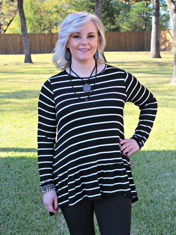 The One and Only Long Sleeve Stripe Tunic Top in Black